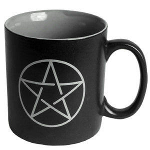 Black Pentacle Ceramic Coffee Mug | Crystal Karma by Trina