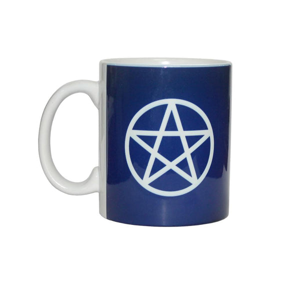 Blue & White Ceramic Coffee Mug with Pentacle | Crystal Karma by Trina