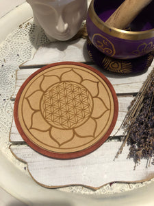 Wooden Crystal Grid - Healing - Flower of Life | Crystal Karma by Trina
