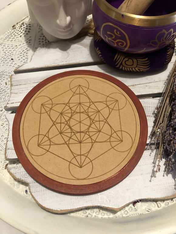 Wooden Crystal Grid - Energy - Metatron's Cube  | Crystal Karma by Trina