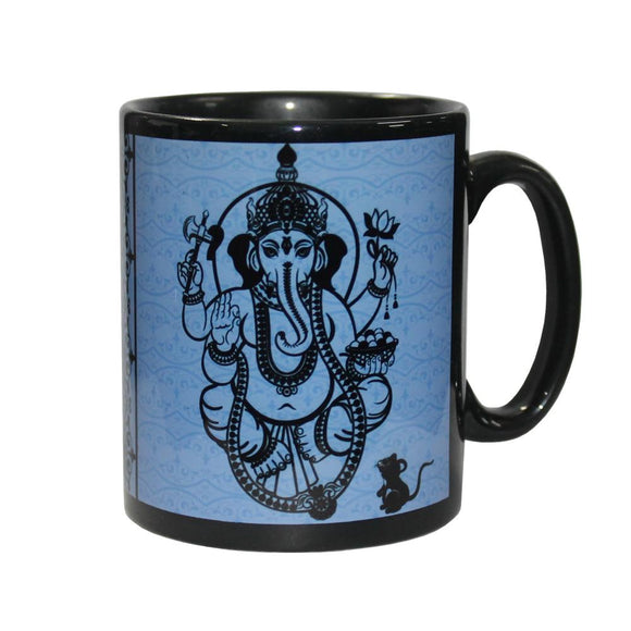 Black Ganesh Ceramic Coffee Mug | Crystal Karma By Trina
