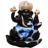 Ganesh Lotus Backflow Incense Burner Blue | Crystal Karma by Trina