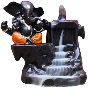 Ganesh Backflow Incense Burner - Orange | Crystal Karma By Trina