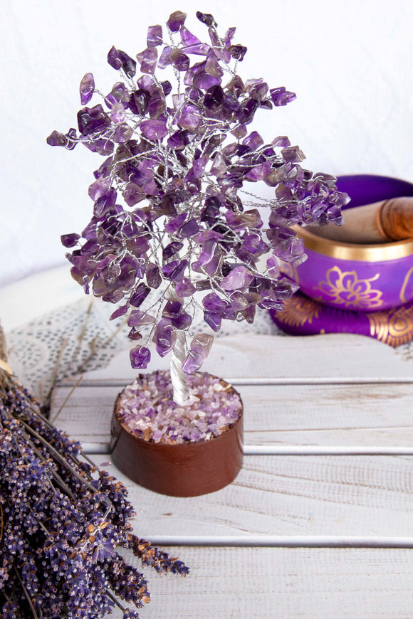 Gemstone Tree Amethyst Silver Medium | Crystal Karma by Trina