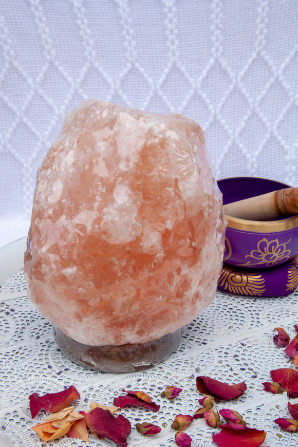 Himalayan Salt Lamp Timber base 3-5kg | Crystal Karma by Trina