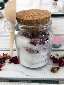 Relaxing Rose Bath Salts with Jar & Spoon - Crystal Karma By Trina