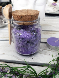 Calming Lavender Bath Salts with Jar & Spoon - Crystal Karma By Trina