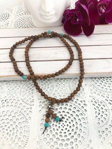 Buddhist Mala Prayer Beads - Sandalwood & Turquoise - 108 Bead  | Crystal Karma by Trina