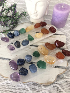 Chakra Pack - Selenite Wand & Stones - Crystal Karma By Trina