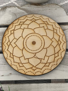 Wooden Crystal Grid - Crown Chakra - Crystal Karma By Trina