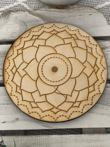 Wooden Crystal Grid - Crown Chakra