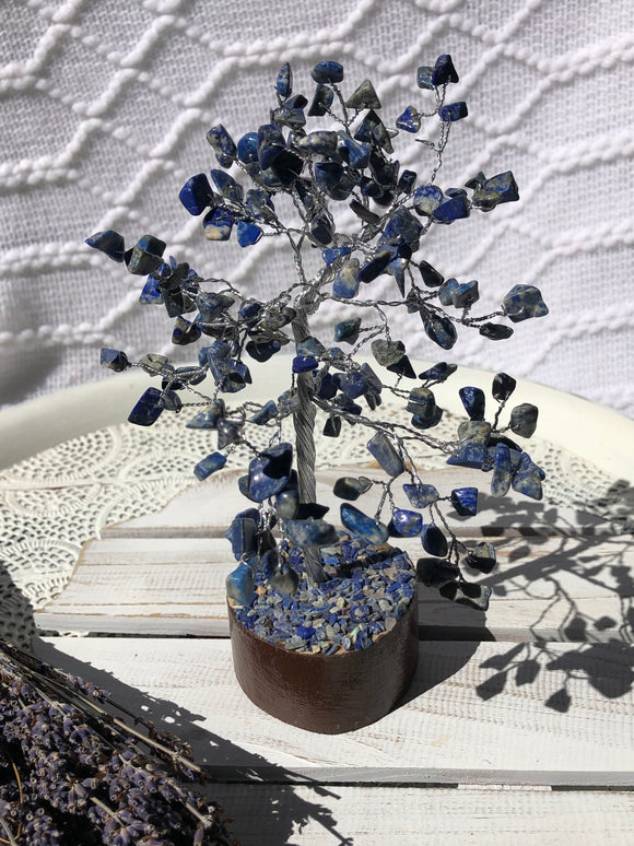 Lapis Lazuli Crystal Gemstone Tree Silver Medium | Crystal Karma by Trina
