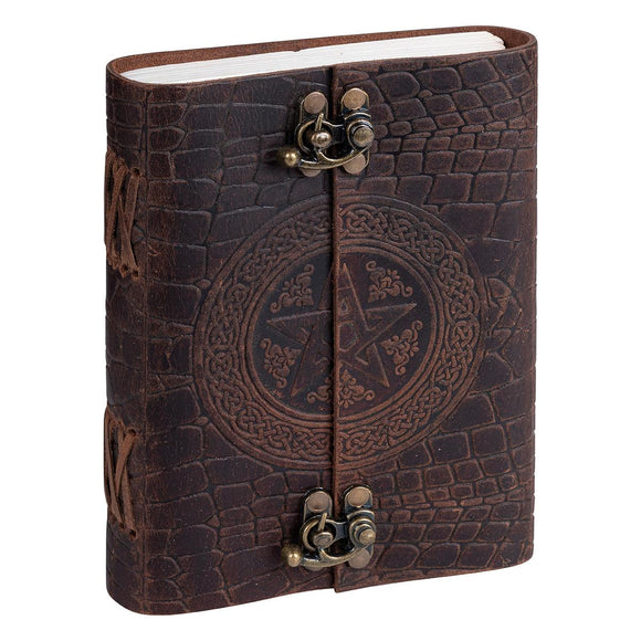 Book Of Shadows Leather Journal - Pentacle Dual Lock | Crystal Karma by Trina