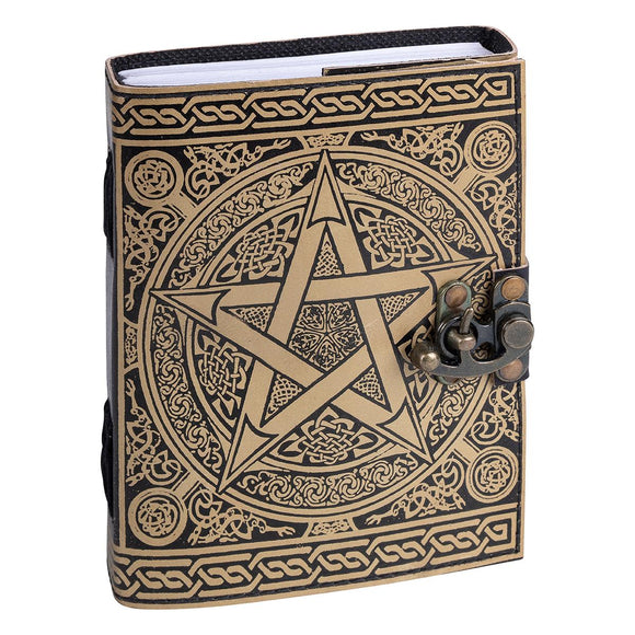 Leather Journal Pentacle Gold | Crystal Karma by Trina