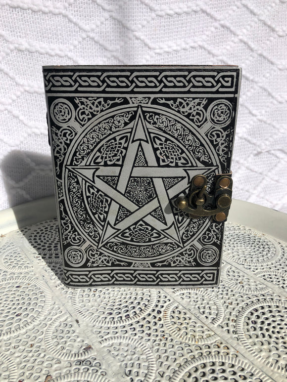 Book Of Shadows Leather Journal - Pentacle Silver Print | Crystal Karma by Trina