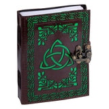 Book Of Shadows Leather Journal - Triquetra Green | Crystal Karma by Trina