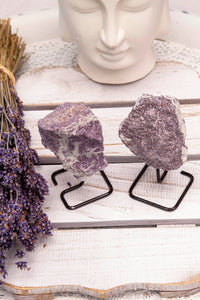 Lepidolite Mineral on Stand | Crystal Karma by Trina