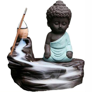 Green Monk Backflow Incense Cone Burner | Crystal Karma by Trina
