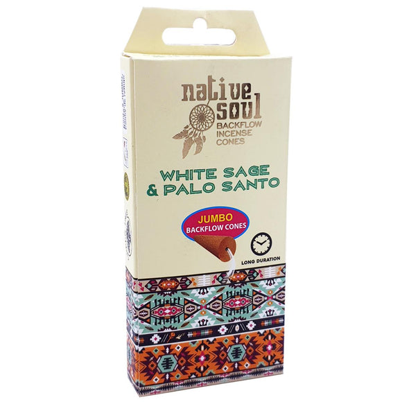 Native Soul Backflow Incense Cones White Sage Palo Santo | Crystal Karma by Trina