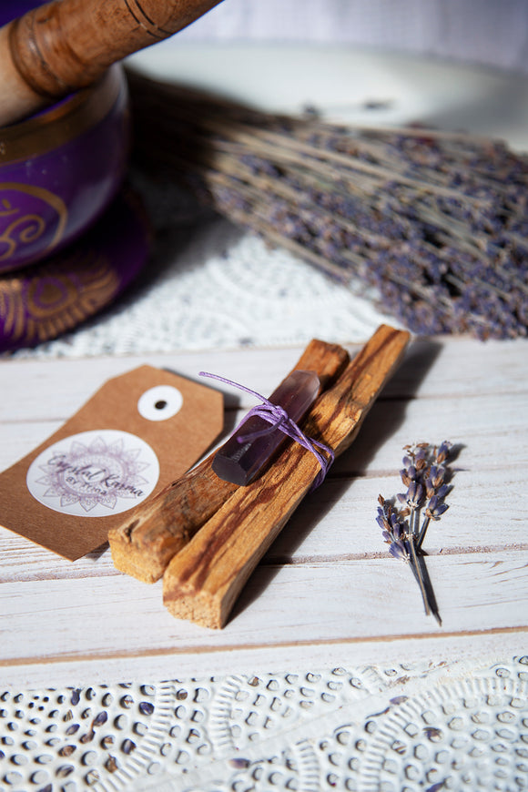 Cleansing Bundle  - Palo Santo with Flourite Generator | Crystal Karma by Trina