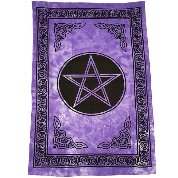Purple Pentacle Tapestry | Crystal Karma by Trina