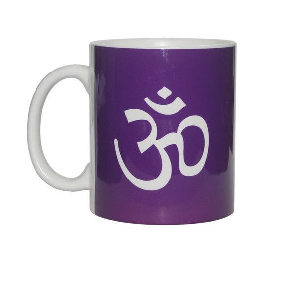 Purple & White Om Symbol Ceramic Mug | Crystal Karma by Trina