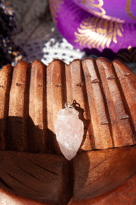 Rose Quartz Arrowhead Pendant | Crystal Karma by Trina