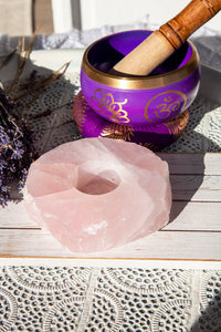Rose Quartz Candle Base - Slab with polished top - Crystal Karma By Trina