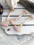 Crystal Facial Rollers - Rose Quartz with Gold Plated Trim | Crystal Karma by Trina