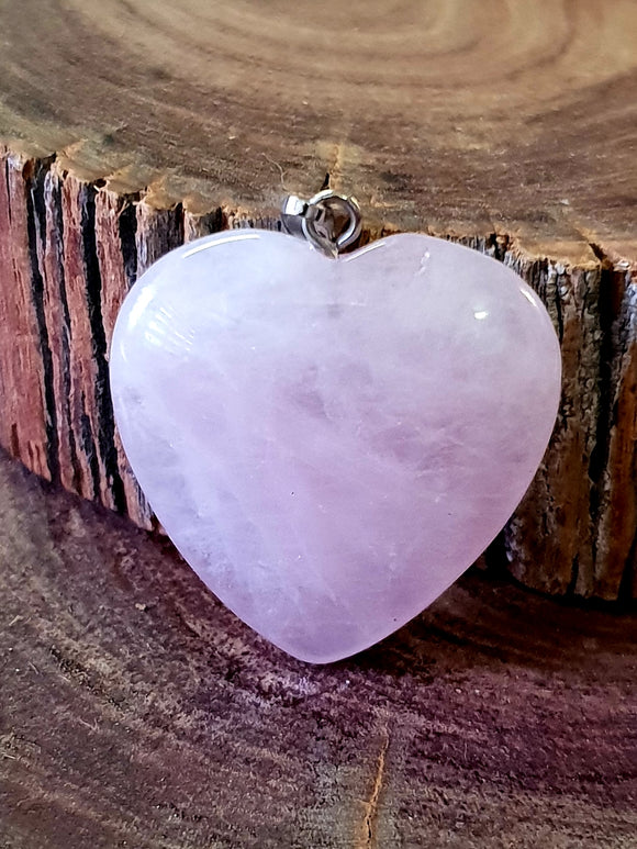 Rose Quartz Pendant - Heart Carved Crystal Pendant | Crystal Karma by Trina