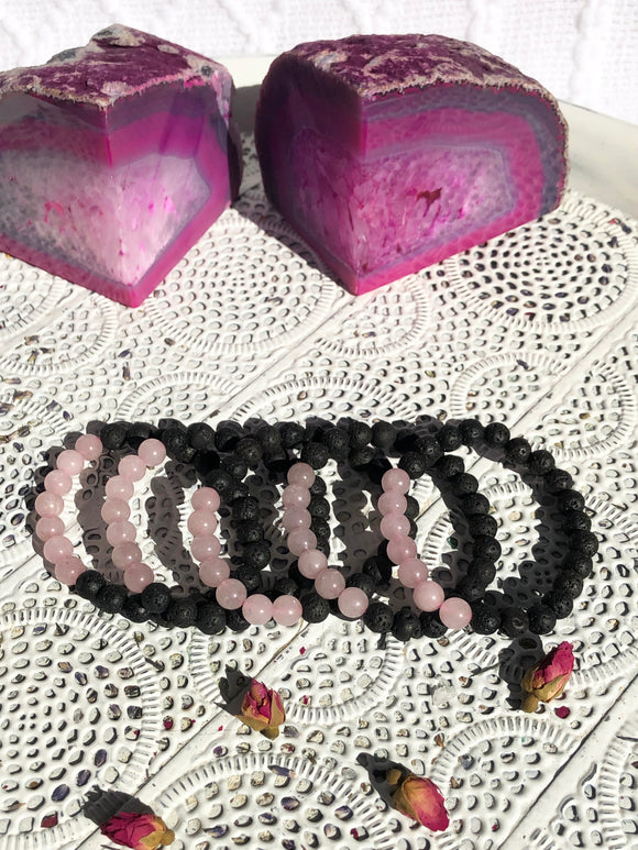 Rose Quartz & Lava Bead Stretch Bracelets | Crystal Karma by Trina