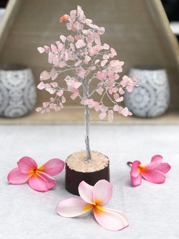 Rose Quartz Tree Silver Small
