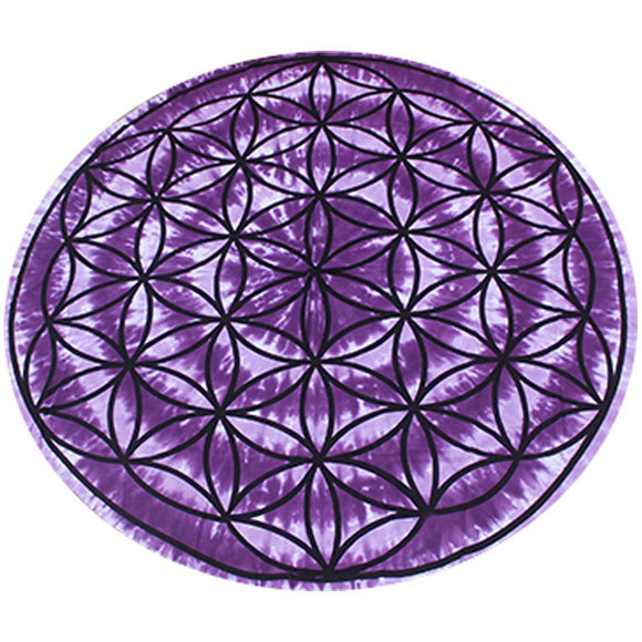 Round Tapestry - Purple Flower of Life | Crystal Karma by Trina
