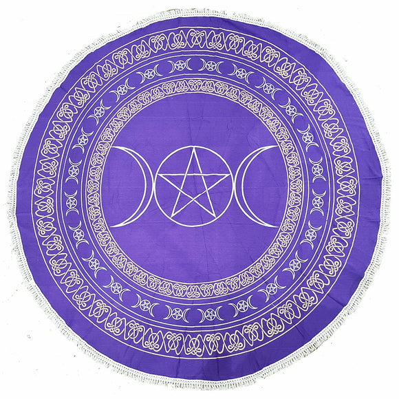 Round Tapestry - Purple Triple Moon  | Crystal Karma by Trina