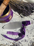 Selenite Athame - Adorned with Purple Ribbon, Black Cord, Amethyst & Pentacle Charm | Crystal Karma by Trina
