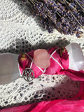 Selenite Athame Adorned with Pink Ribbon & Roses - Medium