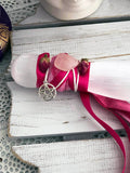 Selenite Athame - Adorned with Pink Ribbon & Roses - Crystal Karma By Trina