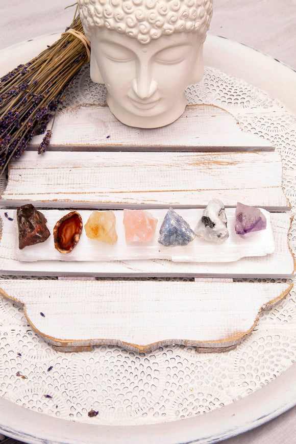 Chakra Selenite Crystal Set | Crystal Karma by Trina