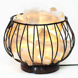 Selenite Fire Cage Amore Lamp - Wooden Base | Crystal Karma by Trina
