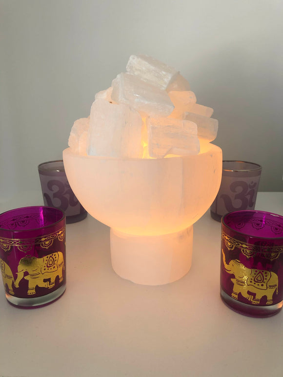 Selenite Fire Bowl Lamp - Crystal Karma By Trina