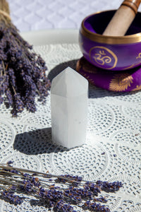 Selenite Polished Point Generator Tower Small - Crystal Karma By Trina