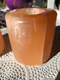 Selenite Candle Holder Orange - Crystal Karma by Trina