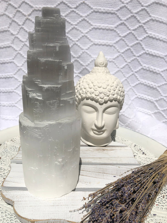 Selenite Tower Lamp 25cm | Crystal Karma by Trina