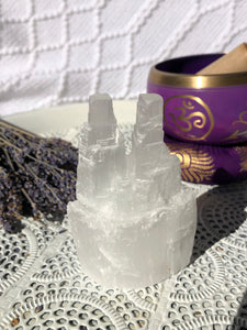 Selenite Twin Towers - Crystal Karma By Trina