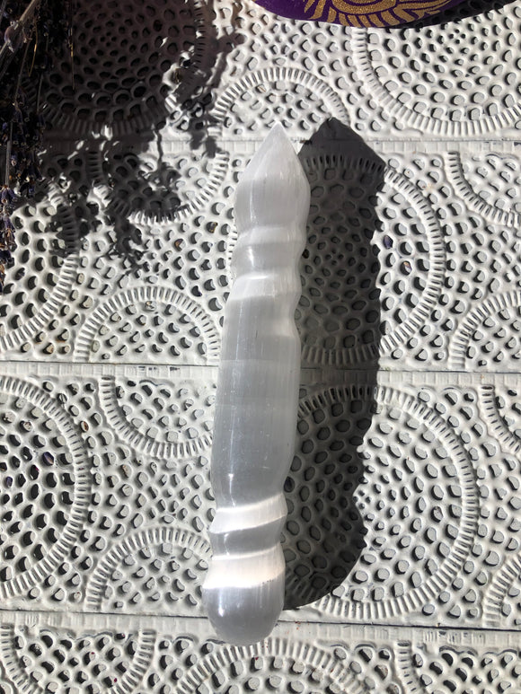 Selenite Massage Wand Spiral | Crystal Karma by Trina