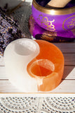 Selenite Yin Yang Candle Holder - Crystal Karma By Trina
