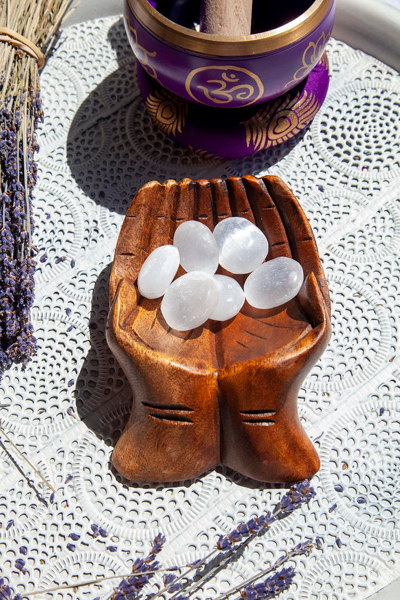 Selenite Oval Tumbles - Crystal Karma By Trina