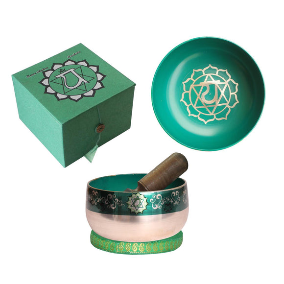 Heart Chakra Singing Bowl - Green 12.5cm Gift Set | Crystal Karma By Trina