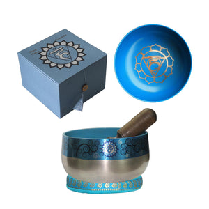 Throat Chakra Singing Bowl - Light Blue 12.5cm Gift Set | Crystal Karma By Trina