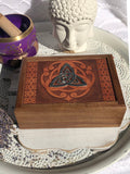 Laser Engraved Wooden Box Metal Triquetra | Crystal Karma By Trina